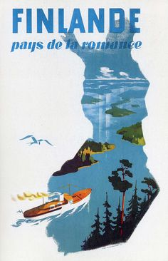 """French Travel Ad, Finland, """"Country of Romance"""""""