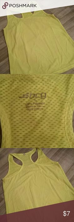 BCG Workout Tank Top Neon yellow BCG Workout Tank top. Sheer for maximum airflow. From clean, smoke free home. BCG Tops Tank Tops