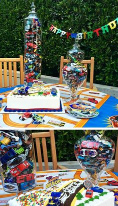 Kick your kid's party into high gear with this centerpiece. Take a clear bowl or vase and fill them with Hot Wheels cars so that fun is always within reach. Only after they've cleared their plates of course.