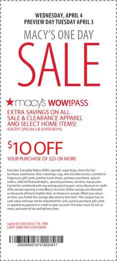 $10 off $25 Tues & Weds til 1pm at Macys