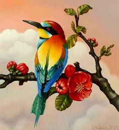 Oil Pastel Drawings, Bird Drawings, Colorful Drawings, Animal Drawings, Bird Painting Acrylic, Flower Painting Canvas, Watercolor Art, Exotic Birds, Colorful Birds