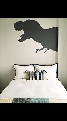 DINOSAUR BEDROOM MURAL kids children boys bedroom mural dinosaur shadows color block gray hand painted interior design stencil pattern NYC info www.