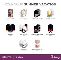 The Newest Disney Collection by Jamberry Nail Wraps with Mickey Mouse and Minnie Mouse. Perfect manicure for your Disney World summer vacation. Jamberry Disney, Mickey Nails, Disney Inspired Fashion, Jamberry Nail Wraps, Fall Nail Colors, Color Street Nails, Gel Nail Designs, Simple Nails, Trendy Nails