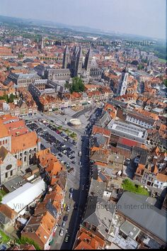 Aerial view of Tournai, with the Romanesque Cathedral of Our Lady in the centre BELGIUM. Romanesque Architecture, Living In Europe, Built Environment, Luxembourg, Our Lady, European Travel, Aerial View, Brussels, Wonders Of The World