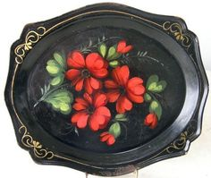 Vintage Russian Tole Pin Tray Hand Painted Vivid Colorful Flowers C1920 | eBay