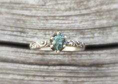 Raw Blue Diamond Engagement Ring with Patterned Silver Band. Unique Handmade Non traditional Natural Diamond Ring