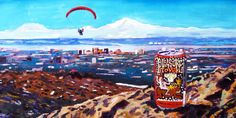 Beer Painting of Pleasure Town IPA by Midnight Sun Brewing, Paragliding Painting, Anchorage Painting, Alaska Painting, Alaska Beer Art