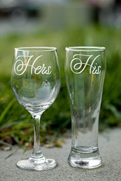 His and Hers Glasses Set of 2 Wedding Toasting Glasses Anniversary Gift Couple Gift Wedding Gift Housewarming Gift More Glass Types Available -- For more information, visit image link. (This is an affiliate link) #HashTag3