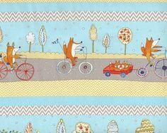 78-cm-Rapport Patchworkstoff FOX PLAYGROUND, Füchse auf der Straße, hellblau-helles limette