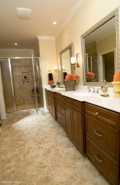 Dual vanities with lots of extra storage in The Rochelle - 1204. http://www.dongardner.com/plan_details.aspx?pid=3506. #Master #Bathroom #Storage