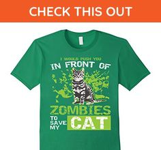Mens Funny Zombie Cat Lover Apocalypse Survival T-Shirt XL Kelly Green - Funny shirts (*Amazon Partner-Link)