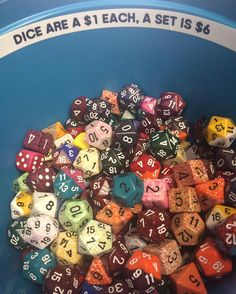 We got Dice! Buck each full set mix and match is $6! Go forth and PLAY! #rpg #dice #deal #games #gaming #sell #hialeah #hialeahgardens posted by tattooscomics http://ift.tt/1RysMih