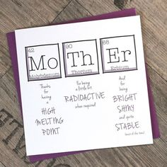 Mother's Day Periodic Table Birthday Fun Funny Mother's Day Card Funny Birthday Card Square Card TPS Digital Print GBP) by ThePaperScientist Funny Birthday Cards, Birthday Fun, Diy Birthday Gifts For Mom, Mother Birthday Gifts, Card Birthday, Sarcastic Birthday, Birthday Greeting Card, Birthday Card Quotes, Funny Sarcastic