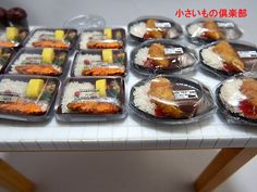 コンビニの鮭弁当、カツカレー、パスタ3種類出来ました 小さいもの倶楽部