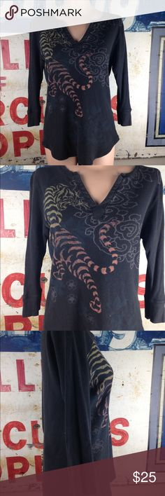 "Lucky Brand Printed Thermal Size XL Great condition  Cotton 26"" Length 20"" side to side at the under arm Lucky Brand Tops"