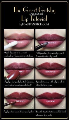 Great Gatsby Lip Tutorial-- or any dark lip color really. #makeup