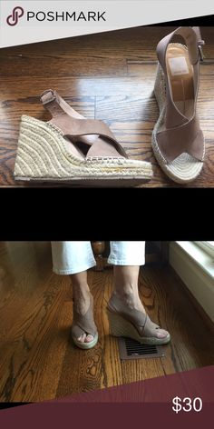 Dolce Vita sz. 6 wedge espadrilles. Tan suede, $30 Cute nude suede Dolce Vita wedge espadrilles, sz. 6.  Crisscrossing straps in front, buckle closure around ankle. Approximately 4 inch heel, but feels like 3 inches because there is a 1 inch platform. Excellent used condition, only worn a couple of times. Dolce Vita Shoes Wedges