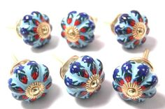 Melon Shaped Tulip Shaped Blue Vintage Ceramic Cupboard Knobs 40mm x Pack 6 (Kitchen Drawer Pulls / Handles. Hand Finished Ceramic Knobs / Pulls with Polished Brass Hardware for Dresser, Drawers, Cabinets or Vanity Units) The Mango Tree,http://www.amazon.com/dp/B009UZGD48/ref=cm_sw_r_pi_dp_WaZjtb03WKVDTB8F