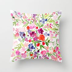 Field of Spring Flowers Throw Pillow by Yao Cheng Design - $20.00