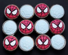 Spiderman and web cupcakes