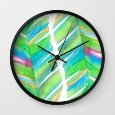 Abstract Tropical Banana Leaves - Green Palette Wall Clock Palette Wall, Green Palette, Banana Leaves, Tropical, Clock, Abstract, Home Decor, Watch, Summary