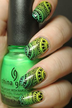 OMG! Polish 'em!: Instagram Revisited Part IV: Yellow-to-green gradient with stamping