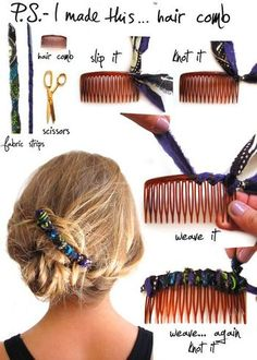 こちらは、二種類の端切れを巻きつけて作るヘアコームです。
