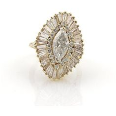 Pre-owned 18K Yellow Gold 5.80 Ct Diamonds Marquise Shape Vintage Cocktail Size 6-7.5 Ring