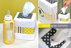 Tissue Box Cover: http://sew4home.com/projects/fabric-art-a-accents/904-citron-a-gray-nursery-2