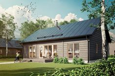 Myrsky is a modern, Scandinavian-style log house that is at home both in densely populated urban areas and deep in the countryside. Modern Wooden House, Modern Tiny House, Tiny House Cabin, Modern Rustic, Scandinavian Style, Cottage Design, House Design, Solar House, Modern Farmhouse Exterior
