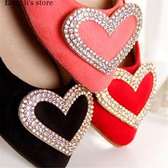 pointed toe flats Picture - More Detailed Picture about zapatillas mujer 2017 Small Yards:31 32 33 34 Plus:US11 12 spring/autumn heart diamond wedding red shoes woman Pointed toe flats Picture in Sunglasses from long li's store drop shipping for you . Aliexpress.com | Alibaba Group