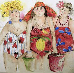 Cecile COLOMBO - Site de pavillondesarts1 ! Figure Painting, Painting & Drawing, Art Plage, Art Fantaisiste, Art Mignon, Flamingo Art, Inspiration Art, Whimsical Art, Beach Art