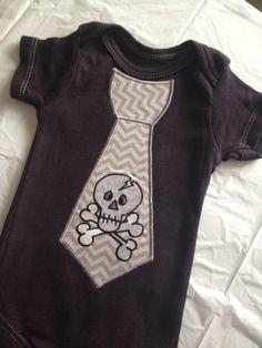 Baby Boy Skull Tie Onesie skater outfit Halloween black dyed onesie chevron newborn size ONLY on Etsy, $14.50