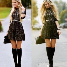 Lace Belted Skater Dress $46