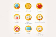 Marketing agency icons set by Di Bronzino on @creativemarket