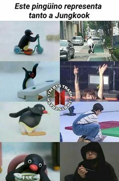 "It says ""this penguin represents jungkook so much"" btw Bts Memes, Funny Memes, Hilarious, Funny Pictures For Kids, Bts Chibi, Bts Boys, Bts Jungkook, Super Funny, Funny Babies"