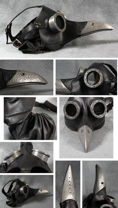 Ichabod is a steampunk leather mask, made along the lines of my Dr. Beulenpest mask, only more steamlined. The design is derived from the historical