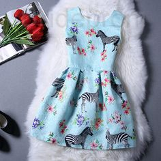 Short Retro Printing Patterns Women's Clothing Sleeveless Casual Dress YHD4-7 Size S M L XL on Luulla