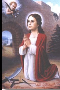 """St Aquilina was a Christian child saint from Byblos, Lebanon.  Gov Volusian accused her of teaching others to reject paganism.  ...she firmly confessed her belief in Christ... She was struck upon the face, then stripped & flogged. Heated metal rods were then drilled through her ears & St. Aquilina fell down as if dead...later that night, an angel appeared to Aquilina, roused her and said, """"Arise and be healed...Before the executioner could carry out the sentence, the martyr gave up her…"""