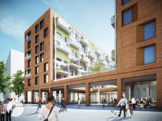Winner after revision Baufeld Architecture Résidentielle, Amazing Architecture, Building Design, Mix Use Building, Arch House, Residential Complex, Brick Facade, High Rise Building, Facade Design