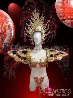 CHARISMATICO Brazilian Gold and Red Four Piece Fire Carnival Costume Set #CHARISMATICO