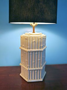 Large Vintage Hollywood Regency White Faux Bamboo Hexagonal Table Lamp.