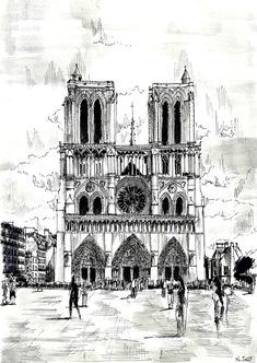 Beautiful drawing page of Notre Dame de Paris, color it detail by detail, or even paint it !, From the gallery : Paris Paris Drawing, City Drawing, Book Drawing, Illustration Parisienne, Paris Painting, Watercolor Painting, Painting Art, Architecture Sketches, Urban Sketchers