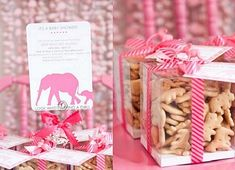 Pink Elephants Baby Shower Theme…Animal crackers giveaway
