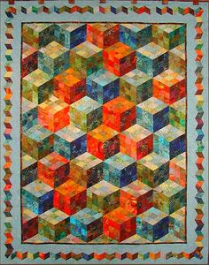"""Playing with Cubes"", Claudia Pfeil, seen at Quilt & Co (Germany)"