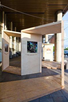 Archiwood exhibition by natasha shendrik, via Behance Museum Exhibition Design, Exhibition Display, Exhibition Space, Display Design, Booth Design, Tienda Pop-up, Stand Feria, Museum Displays, Showroom Design