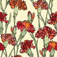 Бесшовный узор элегантность с цветы гвоздики — стоковая иллюстрация #19673035
