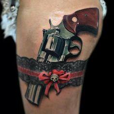 lace garter with gun tattoo