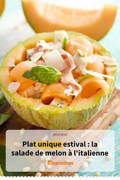 Salade de melon à l'italienne avec du jambon et du gorgonzola #cuisine #recette #recettemarmiton #marmiton #recettemelon #salade #salademelon #platunique