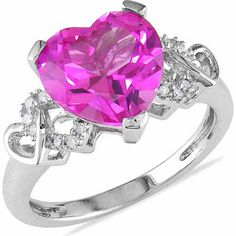 Tangelo Carat T. Created Pink Sapphire And Diamond-Accent Sterling Silver Heart Ring Pink 9 Blue Opal Ring, Pink Sapphire Ring, Pink Ring, Blue Rings, Sapphire Color, 3 Stone Rings, Opal Rings, Love Ring, Silver Diamonds